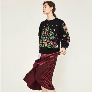 Zara floral embroidered black sweater
